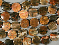 GORGEOUS MULTICOLOR NATURAL PETRIFIED WOOD AGATE 30MM DROP COIN BEADS 15""