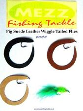 Fly Fishing Leather Wiggle Tailed Flies (Pig Suede)