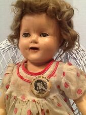 Shirley Temple17 in composition doll, original Shirley Temple dress and Button!
