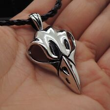 Raven Skull Gothic Crow Head Pewter Wiccan Pendant Free Necklace P296