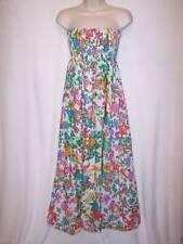 DEREK HEART Pink Blue Cotton Floral Smocked Strapless Long Boho Sun Dress XS-S