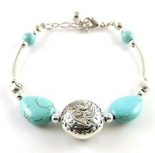 NEW Free shipping Jewelry Tibet silver jade turquoise bead DIY bracelet S276