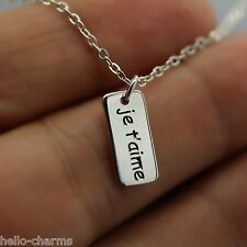 JE T'AIME NECKLACE - 925 Sterling Silver - I Love You Necklace Wife Girlfriend