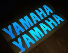 TWO YAMAHA OUTBOARD MOTOR  BLUE REFLECTIVE DECAL STICKERS MOTORBIKE 23cm x6cm