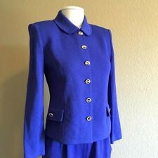 St. John knits Collection by Marie Gray 2-piece knit blue dress pants suit S 4