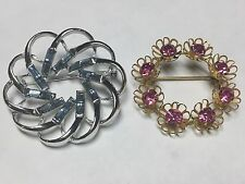 LOT OF 2 VINTAGE / RETRO DESIGNER STYLE ROUND FLORAL STYLE RHINESTONE BROOCHES