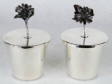 Mid Century Italian Sterling Silver Covered Flower Lid Cups Dish