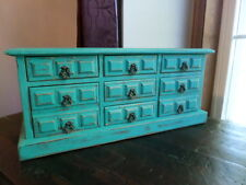 Large vintage upcycled wood music jewelry storage chest distressed shabby rustic
