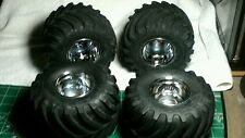 New set of 4 clodbuster or bullhead tires and wheels tamiya rc monster truck