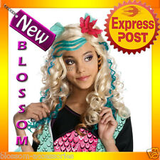 W159 Lagoona Blue Monster High Girls Fancy Dress Party Costume Wig