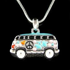 Volkswagen VW Hippie Bus enamel Peace Sign Van Vanagon Car Pendant Necklace New
