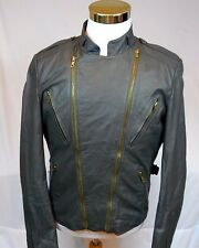 Vintage Berman's Leather Motorcycle Biker Jacket, Size 40,Zip Out Lining,Gray