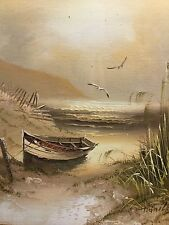 Painting of a Moored Boat by a Lake with Gulls - Signed H. Gailey
