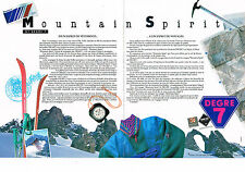 PUBLICITE ADVERTISING  1990   MOUNTAIN SPIRIT  sport ski (2 pages) DEGRE 7