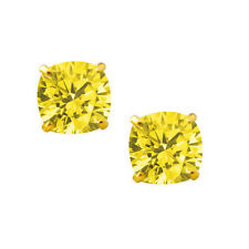 2.00 CARAT 14K SOLID YELLOW GOLD CUSHION CUT CANARY STUD EARRINGS