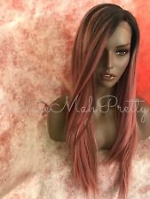 100% Human Hair Blend Pink Ombre Multi Tone Straight Lace Front Wig