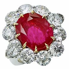 Stunning A. Aletto 8.66ct AGL No Heat Burma Ruby Diamond Platinum Ring
