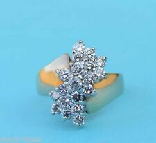 Ladies Bow Tie Style Cluster Ring w/ 19 Man Made Diamonds - 10k Yellow Gold