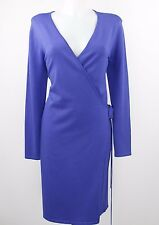 Nina Leonard Royal Blue Robe Style Long Sleeve Wrap Dress Size Medium