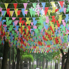 10M Multi Colored Rainbow Bunting Large Kids Birthday Party Outdoor Flags Banner