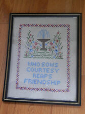 Framed Cross Stitch Sampler Who Sows Courtesy Reaps Friendship