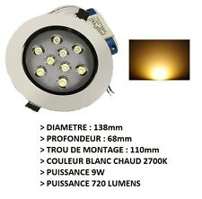 SPOT DESIGN ENCASTRABLE WARM WHITE BLANC CHAUD 9W + TRANSFORMATEUR 12V