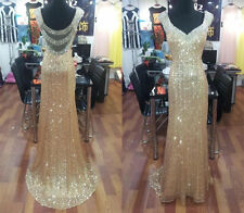 Custom Made Gold Sequins Lace Long Prom Dresses Formal Evening Party Gowns