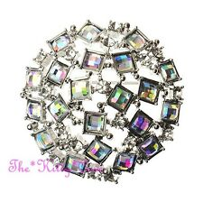 Stunning Deco Vintage Style Domed Round Aurora Borealis Square Beads Brooch, Pin