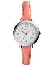 Fossil Women's ES3938 Mini Jacqueline Silver Dial Papaya Leather Watch