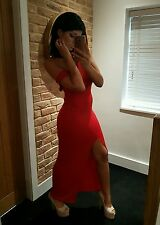 Stunning Red Backless Off Shoulder Slinky Tight Full Length Maxi Dress! Size 12