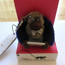 Kipling Nerdy Monkey Key Ring Computer Geek- laptop glasses bow tie blue brown