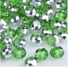 NEW Jewelry Faceted 100 pcs Silver Green #5040 3x4mm Roundelle Crystal Beads AQ1
