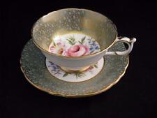 PARAGON Teacup cup & Saucer GOLD Design Over GREEN with ROSE Floral Centre A3251