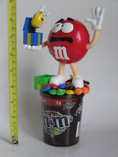 M&M RED FRIGHT MAN WITH MAGIC BOX PEANUT CANDY DISPENSER TOPPER M&M's WITH CUP