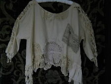 RITANOTIARA ONE SIZE COTTON CREAM VINTAGE LACE ARTIST SHIRT OVERSIZED 3/4 SLEEVE