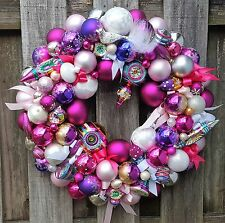 "Glass Ornament 24"" Christmas Easter Holiday Wreath Christopher Radko Shiny Brite"
