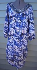 New BCBG Maxazria 3/4 Sleeve Blue Floral Rose Beaded Comfy Jersey Tunic Dress XL
