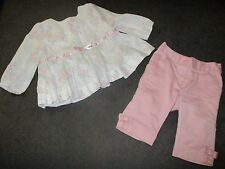 Janie and Jack 6-12 Month Shirt Black Tie Ballet Floral Pink Bonjour Paris Pants