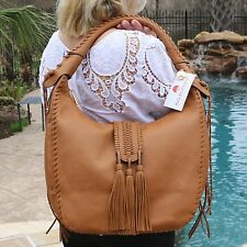 NWT XL Big Buddha Cognac Hobo Fringe Faux Leather Shoulder Bag Handbag Tassel