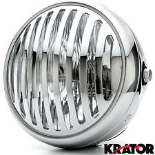 "7"" Chrome Vintage Antique Style Grill Prison Chopper Motorcycle Bobber Headlight"