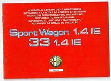 1991-95 ALFA ROMEO 33-SPORTWAGON catalitica 1.4 IE-4X4 allegato uso manutenzione