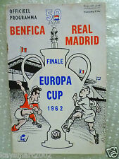1962 European Cup FINAL BENFICA V REAL MADRID, 2 May in Amsterdam (Org*)