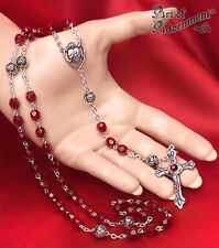 Gothic Sacred Heart VAMPIRE BLOOD ROSARY Necklace Red Glass Crucifix Cross D58