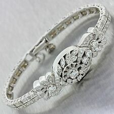 1920s Antique Art Deco 14k White Gold 3.84ctw Diamond Conversion Watch Bracelet