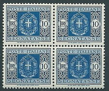 1934 REGNO SEGNATASSE 10 LIRE QUARTINA LUSSO MNH ** - C4-2