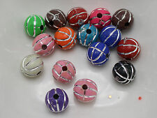 200 Mixed Colour Sparkling Silver Basketball Pattern Acrylic Round Beads 8mm