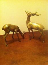 Solid Brass Deer A Doe And 4-point Buck By Andrea Sadek