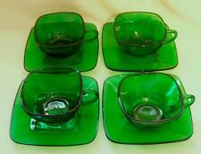 VINTAGE ANCHOR HOCKING FOREST GREEN CHARM SQUARE CUPS & SAUCERS 4 sets