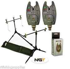 NGT Carp Fishing Rod Pod + Indicators Rests + 2 x Camo Bite Alarms + Batteries