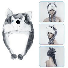 Cartoon Animal Wolf/Penguin Cute Fluffy Plush Warm Hat Scarf Earmuff Mascot LY